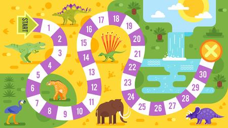 恐竜テンプレートと子供ゲームのベクトル フラット スタイルのイラスト。印刷します。