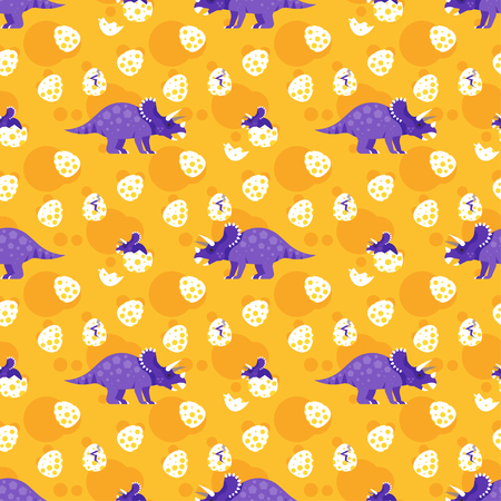 Vector flat style colorful seamless pattern with dinosaurs.