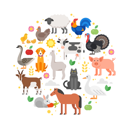 Vector flat style round composition of farm animals icons. Isolated on white background.