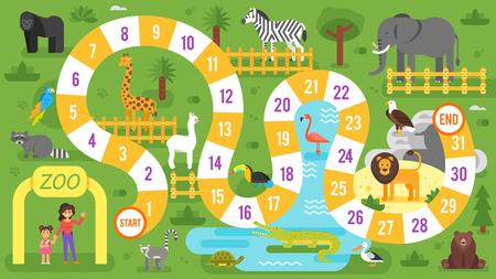 Illustration de style plat vectoriel d'un modèle de jeu de tableau d'animaux pour enfants zoo. Pour imprimer.
