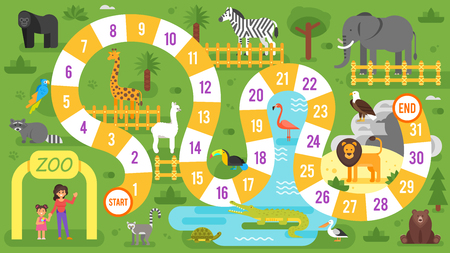 Vector flat style illustration of kids zoo animals board game template. For print. Imagens - 83410064