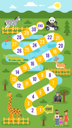 Vector flat style illustration of kids zoo animals board game template. For print. Фото со стока - 83410065