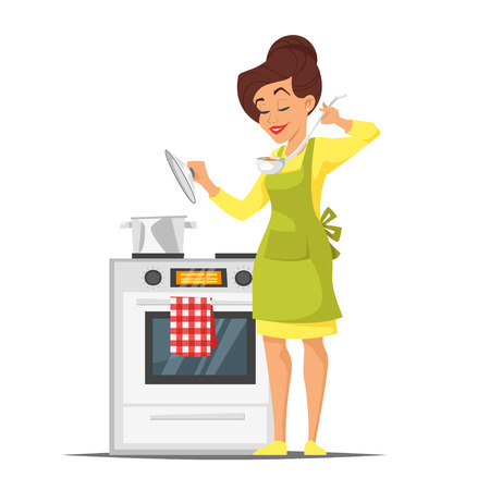 Vector cartoon style illustration of happy housewife trying the dish near the stove. Isolated on white background.