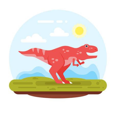 Vector flat style illustration of prehistoric landscape mountains and tyrannosaur. Isolated on white background. 向量圖像