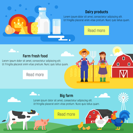 Vector flat style template for web banner. Farm, farmers, farm animals and dairy products. Illustration