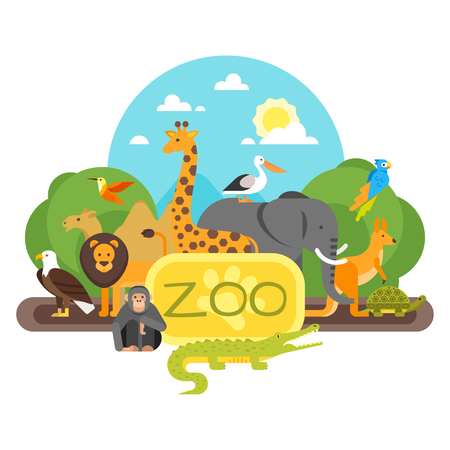 Vector flat style illustration of animals standing at the zoo entrance. Good sunny day. Isolated on white background. Ilustração