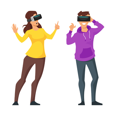 cyber woman: Vector cartoon style illustration of two characters: man and woman in virtual reality glasses. Isolate on white background. Illustration