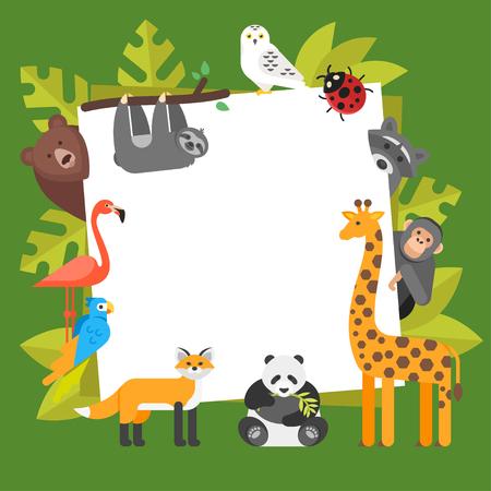 oso perezoso: Ilustración de estilo plano de vector de animales de zoológico. Plantilla para banner o póster con animales.