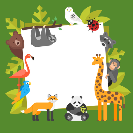 Vector flat style illustration of zoo animals. Template for banner or poster with animals. Ilustração