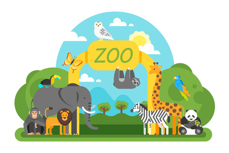 Vector flat style illustration of animals standing at the zoo entrance. Good sunny day. Isolated on white background. Stock Illustratie
