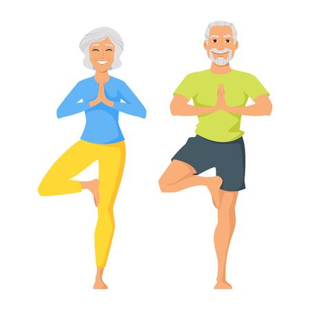 Vector ilustración de estilo de dibujos animados de dos personajes: feliz hombre mayor y mujer haciendo ejercicio de yoga. Aislados en fondo blanco. Ilustración de vector