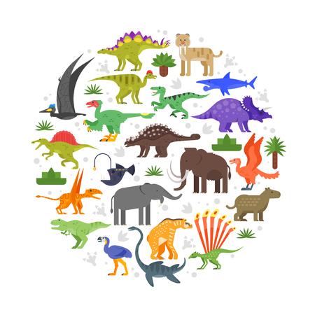 ベクトル フラット スタイルは、先史時代の動物アイコンの組成をラウンドします。白い背景上に分離。  イラスト・ベクター素材
