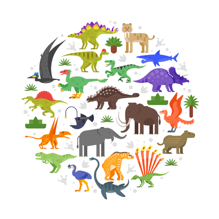 Vector flat style round composition of prehistoric animals icons. Isolated on white background. Illustration