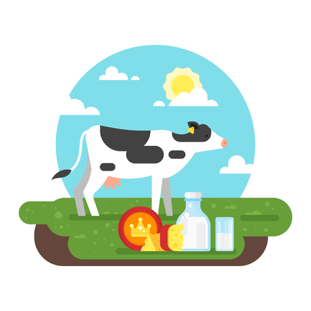 Vector flat style illustration of cow graze in a field and dairy products. Good sunny day. Nature background. Illustration