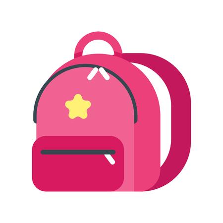 Vector flache Artillustration des Kinderrucksacks. Symbol für das Web. Getrennt auf weißem Hintergrund.