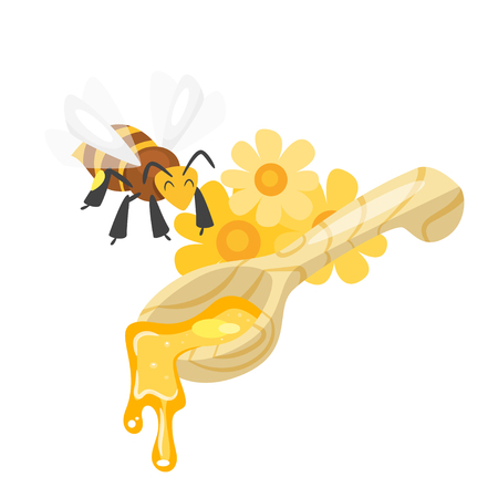 Vector cartoon style bee flying over the spoon of sweet honey and flowers. Isolated on white background.