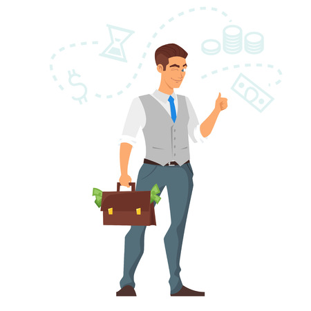 Vector cartoon style illustration of happy businessman with a case of money. Isolated on white background. Illustration
