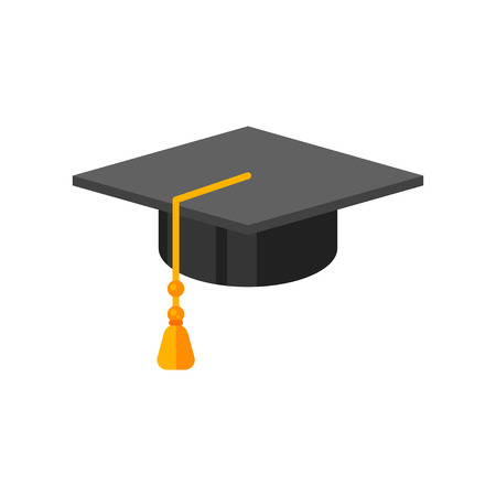 Vector flat style illustration of graduation cap. Icon for web. Isolated on white background. Illustration