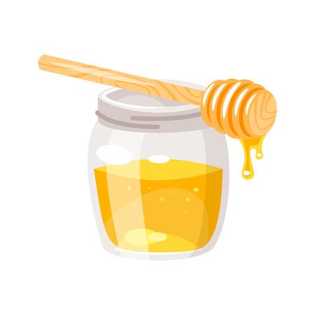 Vector cartoon style glass honey jar.  Isolated on white background.
