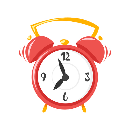 business graphics: Vector cartoon style illustration of alarm clock. Icon for web. Isolated on white background.