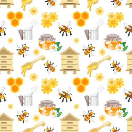 Vector cartoon style seamless pattern with honey and apiary symbols on white background.