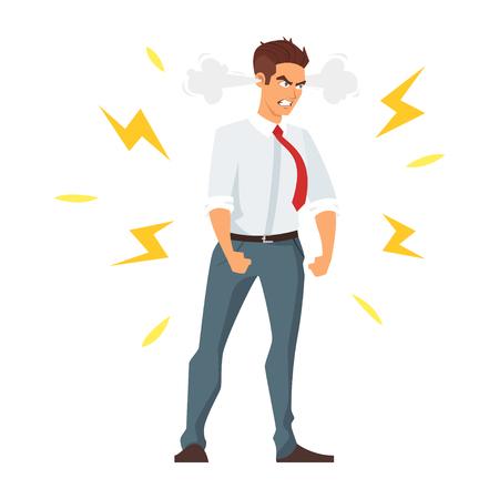 Ilustración de estilo de dibujos animados de vector de empresario enojado. Aislado en el fondo blanco.