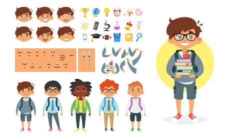 Générateur de caractères vecteur cartoon style école garçon. Différentes émotions, positions de la bouche et gestes de la main. Icônes de l'école. Isolé sur fond blanc