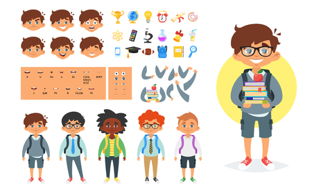 Vector cartoon style school boy character generator. Different emotions, mouth positions and hand gestures. School icons. Isolated on white background. Stock Illustratie