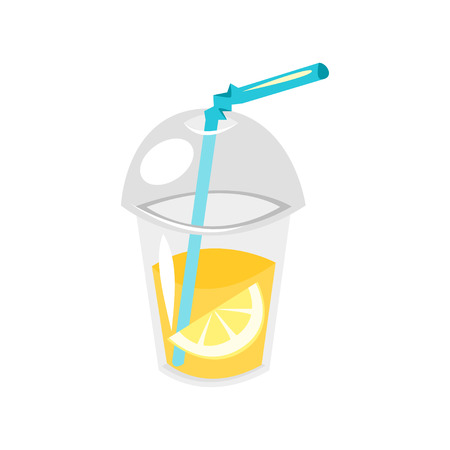 Vector cartoon style illustration of lemonade in plastic cup. Isolated on white background. Illustration