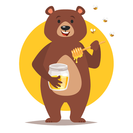 Vector cartoon style bear character eating sweet honey. Isolated on white background. 向量圖像