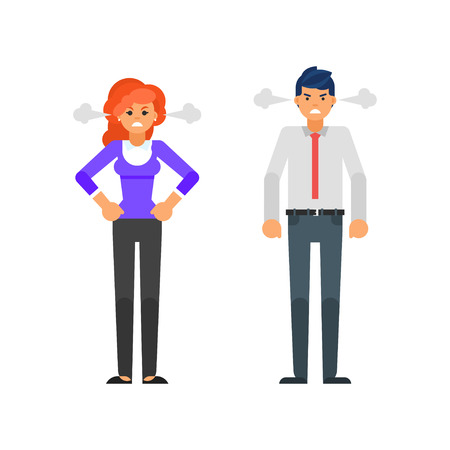 Vector flat style illustration of angry businessman and businesswoman characters with a steam coming out from their ears. Isolated on white background.