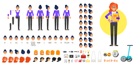 Vector flat style businesswoman character creation set for animation. Different emotions, hairstyles and gestures. Front, side and back view of character. Business icons. Isolated on white background.