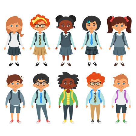 Vector Cartoon-Stil Satz von internationalen Schule Kinder, Jungen und Mädchen mit verschiedenen Frisuren. Getrennt auf weißem Hintergrund.