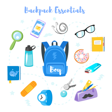 Vector cartoon style backpack essentials set for school boy. Isolated on white background.