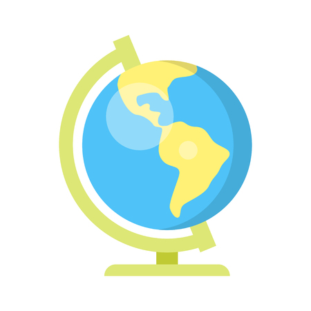 Vector flat style illustration of school globe. Isolated on white background.
