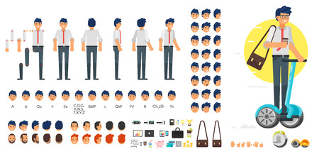 Vector flat style businessman character creation set for animation. Different emotions, hairstyles and gestures. Front, side and back view of character. Business icons. Isolated on white background. Vettoriali