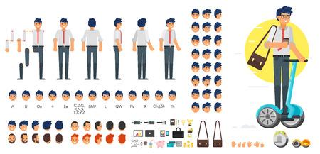 Vector conjunto de creación de personajes de hombre de negocios de estilo plano para la animación. Diferentes emociones, peinados y gestos. Vista frontal, lateral y posterior del personaje. Iconos de negocios Aislados en fondo blanco.