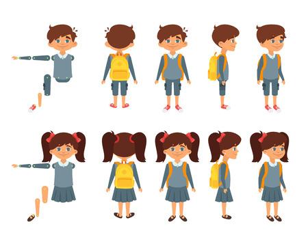 ベクトル漫画のスタイルは、学校の男の子とアニメーションのための女の子のセット。白い背景上に分離。