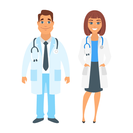 Vector cartoon style illustration of man and woman doctor. Isolated on white background.