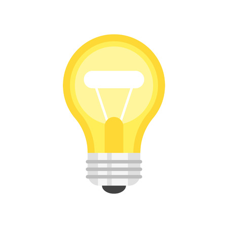 Vector flat style illustration of light bulb. Icon for web. Isolated on white background. Illustration