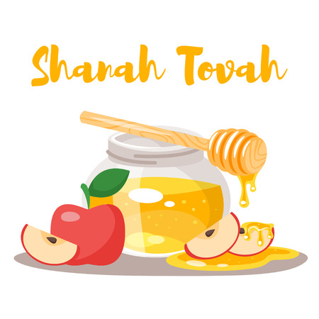 Vector cartoon style Shanah Tovah greeting card template with honey glass jar and apples.