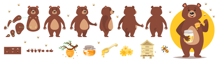 Vector cartoon style bear character for animation. Different emotions and beekeeping symbols. Isolated on white background. Illustration