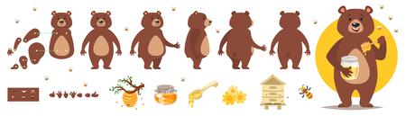 Vector cartoon stijl beer karakter voor animatie. Verschillende emoties en bijenteelt symbolen. Geïsoleerd op witte achtergrond