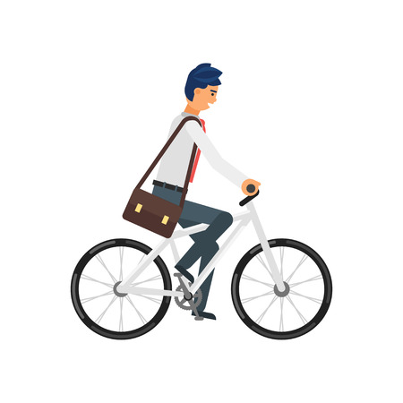 commuter: Vector flat style illustration of happy businessman hurrying to the job on the bicycle. Isolated on white background.