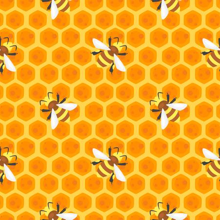 蜂蜜の櫛に蜂とベクトル漫画スタイル シームレス パターン。