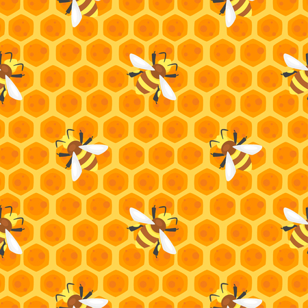Vector cartoon style seamless pattern with bees on honey combs. Ilustrace