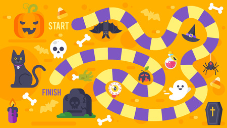 silueta de gato: Vector flat style illustration of kids Halloween game template. For print. Vectores