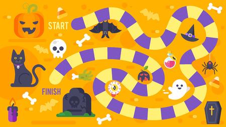 Vector platte stijl illustratie van kinderen Halloween spel sjabloon. Voor afdrukken.