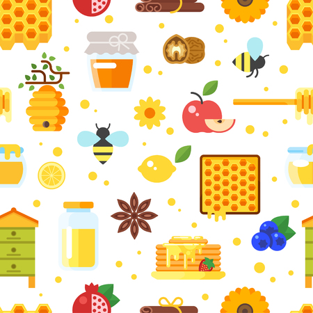 Vector flat style seamless pattern with honey and beekeeping icons on white background.