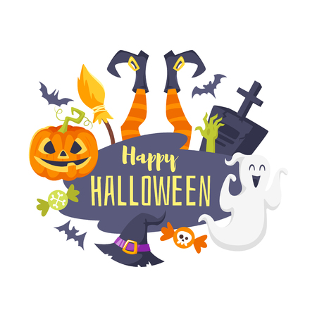 Vector cartoon Halloween greeting card template. Holiday banner isolated on white background. Illustration